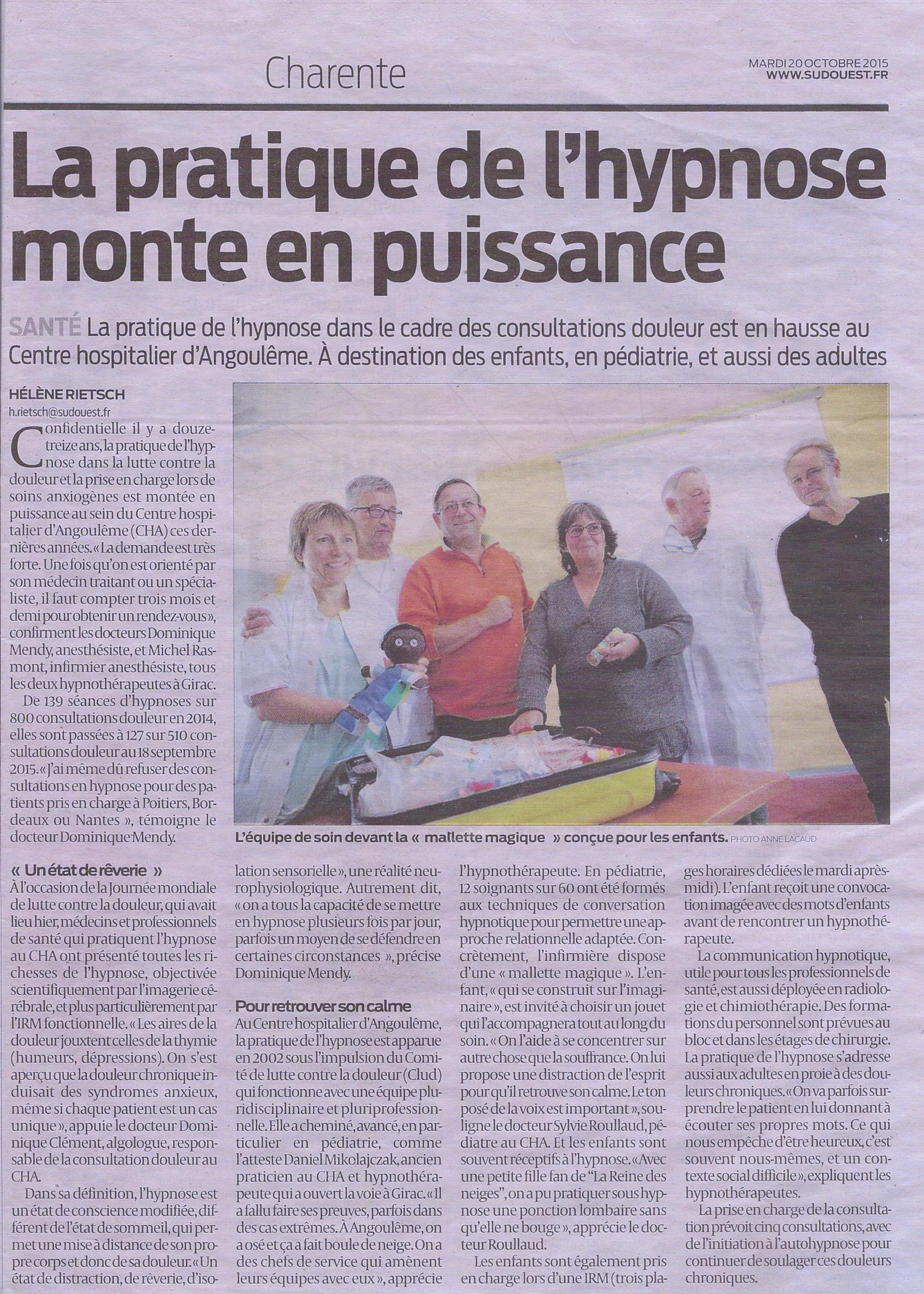 Article de presse pratique de l'hypnose à l'hôpital